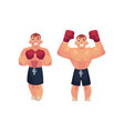 flat muscular handsome boxer man set vector image