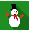 Fun Snowman in Flat Style with Long Shadows vector image