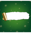 Green Paper Torn With Snowflakes vector image