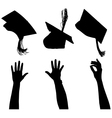 Tossing mortarboard Silhouette vector image
