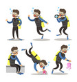 scuba diver cartoon set snorkeling diving vector image