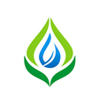 eco leaf bio organic water drop logo vector image