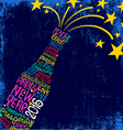 Happy New Year 2016 wishes in champagne bottle vector image