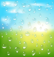 Abstract spring background with sunrise and drops vector image