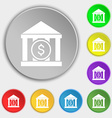 bank icon sign Symbol on eight flat buttons vector image