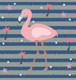 cute pink flamingo with palms and stars on a blue vector image
