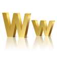 Golden letter W vector image