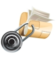 Locked steel folder with documents vector image