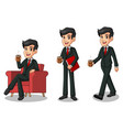set of businessman in black suit making a break vector image