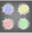 set of different colorful fur spheres background vector image