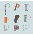 set of colorful alphabet letters P vector image