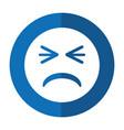 unhappy face emoticon funny shadow vector image