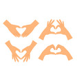 Two hands making heart shape vector image