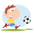 Cartoon child playing soccer vector image vector image