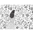 Woman drawing handmade black and white vector image