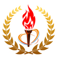 flaming torch in laurel wreath vector image