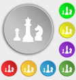chess Game icon sign Symbol on eight flat buttons vector image