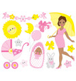 African American Pregnant Woman Set vector image