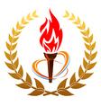 Flaming torch in laurel wreath vector image