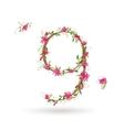 Floral number nine for your design vector image