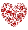 floral red valentine heart vector image