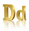 Golden letter D vector image