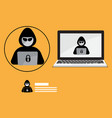 hacker logo with laptop background vector image