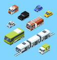 isometric transport 3d car icons set vector image