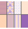 Orange And Purple Seamless Patterns vector image