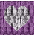 Seamless pattern with hand drawn knitted heart vector image