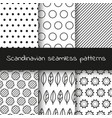 set of 6 black and white scandinavian seamless vector image