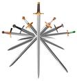 set of swords cross crosswise vector image vector image