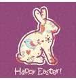 Easter bunny cute floral card vector image vector image