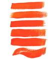 Orange ink brush strokes vector image