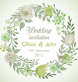 Watercolor wreath with flowers and leaves vector image vector image