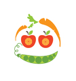 Abstract funny face of applecarrot and peas vector image
