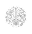 doodle violin coloring page vector image