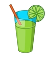 Glass of green cocktail icon cartoon style vector image