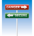 Secure - Danger way traffic road board vector image