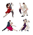 set of a couple dancing argentine tango hand vector image