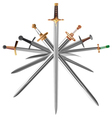 set of swords cross crosswise vector image