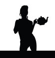 woman black silhouette with teapot vector image