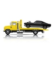 yellow truck towing black muscle car vector image