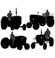 Farmer Tractor Silhouette vector image