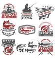 pike fishing club fishermans icons design vector image vector image