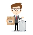 Young man with bag and box over white background vector image