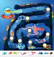 Deep Sea Exploration Treasure Game Map vector image