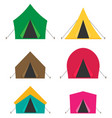 camping tent icons isolated on white background vector image
