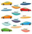 cars yachts boats cartoon set vector image