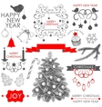 collection of Christmas and New years elements vector image